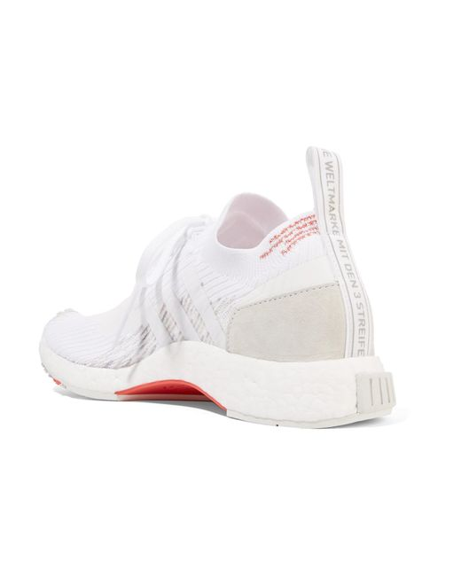 b23b5e00c ... Adidas Originals - White Nmd racer Suede-trimmed Primeknit Sneakers -  Lyst ...