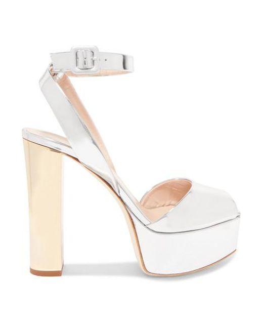 Giuseppe Zanotti Metallic Betty Mirrored-leather Platform Sandals