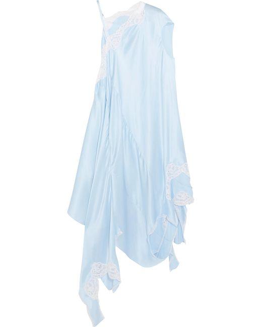 Vetements   Blue Asymmetric Lace-trimmed Silk-satin Midi Dress   Lyst