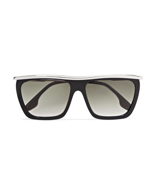 Victoria Beckham - Black D-frame Acetate And Silver-tone Sunglasses - Lyst