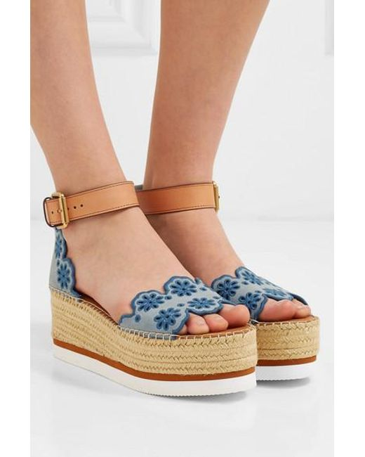 1980d6cec ... See By Chloé - Blue Embroidered Laser-cut Suede And Leather Espadrille  Wedge Sandals ...