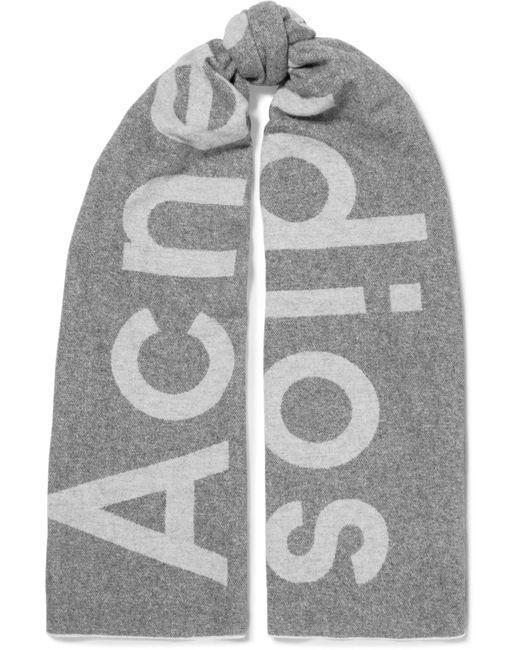 Acne - Gray Toronto Intarsia Wool-blend Scarf - Lyst