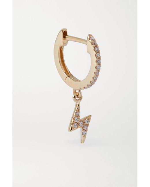 STONE AND STRAND Metallic Creole Aus Gold Mit Diamanten