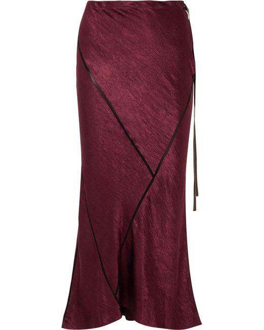 Ann Demeulemeester - Purple Crepe-trimmed Crinkled-satin Midi Skirt - Lyst