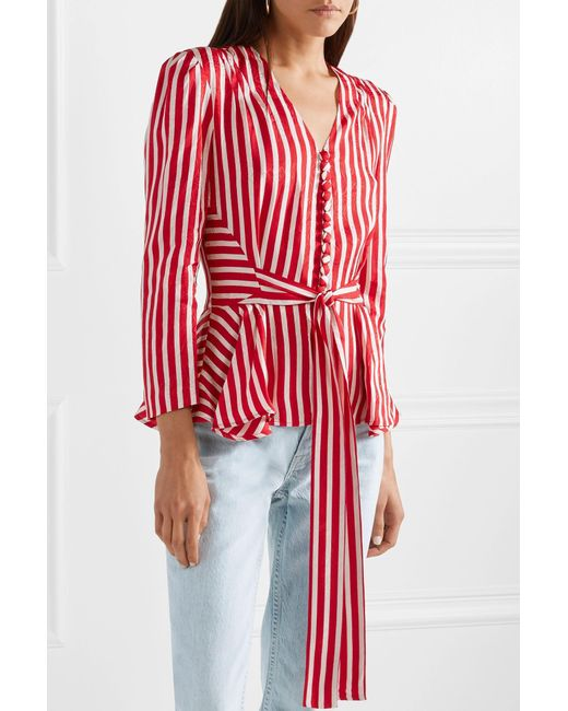 2bc595985701d Stella McCartney Striped Silk Shirt in Red - Save 69% - Lyst