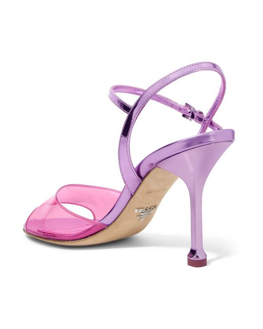 f07fcc411dc ... Prada - Pink Metallic Leather And Pvc Sandals - Lyst ...