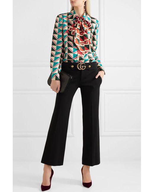 4fbc6a33718 ... Gucci - Green Pussy-bow Printed Silk-twill Shirt - Lyst ...