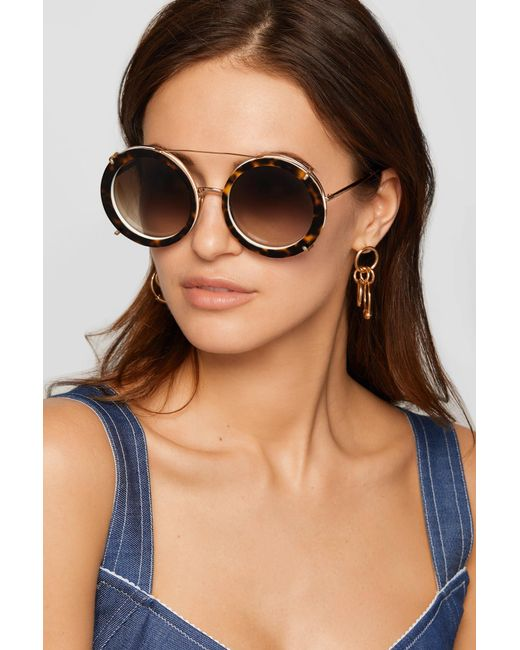 a165c806f1c2 ... Dolce   Gabbana - Metallic Round-frame Printed Acetate And Gold-tone  Convertible Sunglasses ...