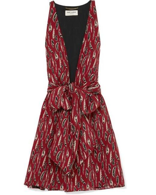 626877b5fa1 Saint Laurent - Red Printed Silk Crepe De Chine Mini Dress - Lyst ...