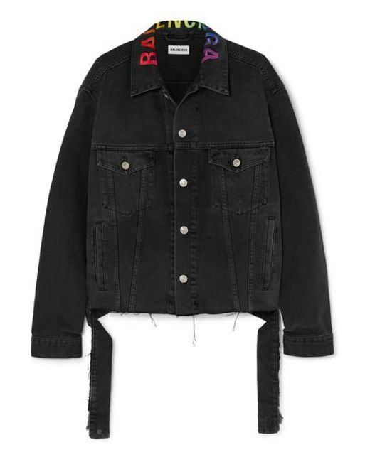 Balenciaga - Black Embroidered Oversized Denim Jacket - Lyst