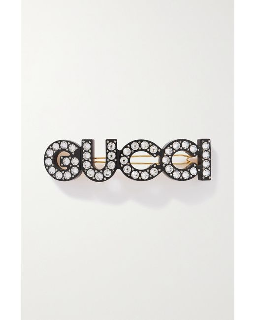 Gucci Black Große Haarspange Aus Harz Mit Goldfarbenen Details Und Kristallen