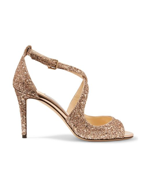 Jimmy Choo - Metallic Emily 85 Glittered Leather Sandals - Lyst