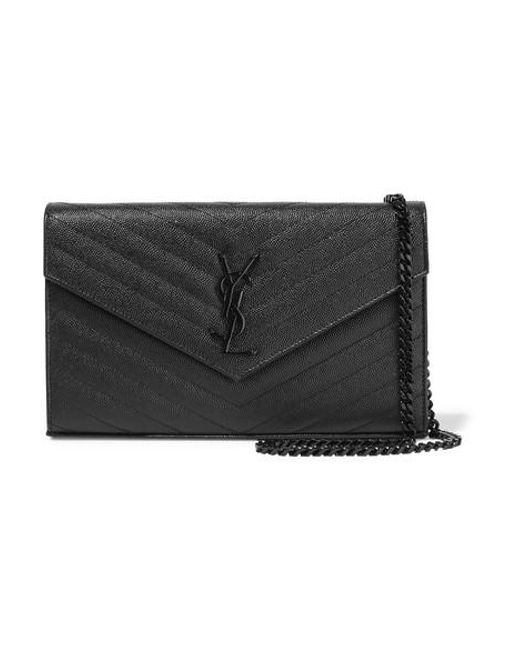 Saint Laurent Black Monogramme Mini Quilted Textured-leather Shoulder Bag