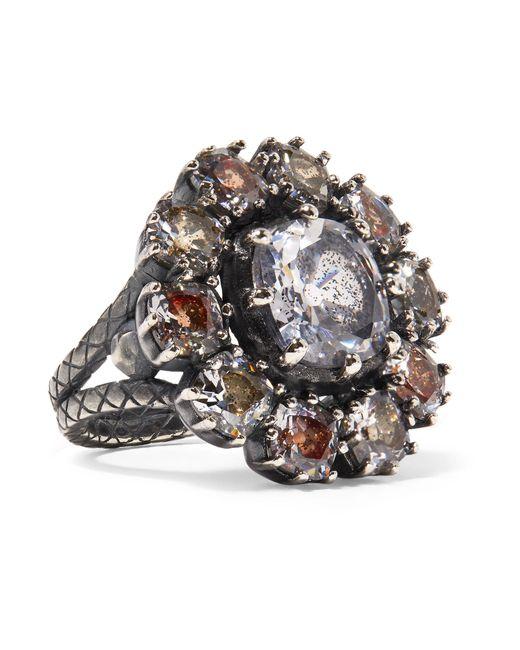 Bottega Veneta | Metallic Oxidized Silver, Glass And Cubic Zirconia Ring | Lyst