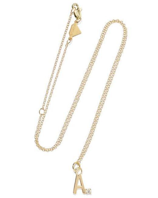 Alison Lou - Metallic Letter 14-karat Gold Diamond Necklace - Lyst