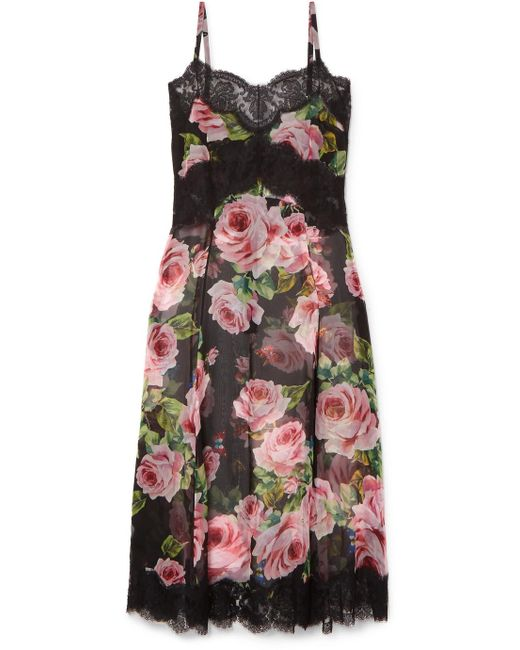 Cheap Sale View Ebay Lace-trimmed Floral-print Silk-blend Chiffon Chemise - Black Dolce & Gabbana Shop Sale Online Latest For Sale szcbSug