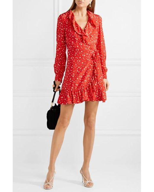 Miu Miu Red Ruffled Printed Silk-crepe Wrap Mini Dress