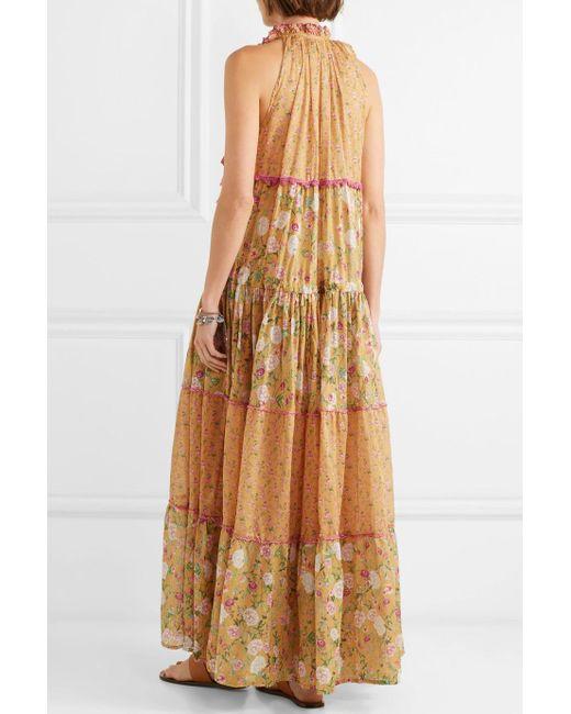 Naomi Floral-print Crochet-trimmed Cotton-voile Maxi Dress - Mustard Anjuna knc6J