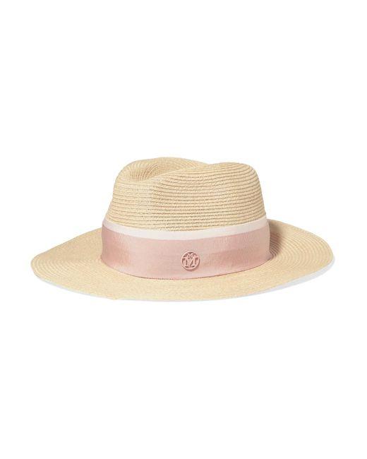 Maison Michel - Pink Henrietta Grosgrain-trimmed Straw Hat - Lyst