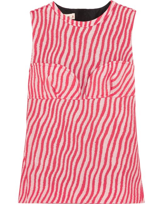 Marni   Red Paneled Striped Cotton-blend Jacquard Top   Lyst