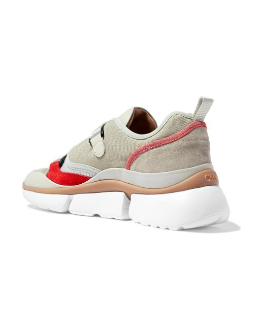 Sonnie Suede And Leather-trimmed Canvas And Mesh Sneakers - Beige Chlo t2FJU7
