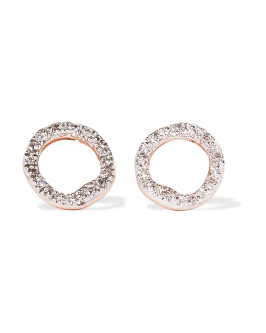Monica Vinader | Metallic Riva Circle Rose Gold Vermeil Diamond Earrings | Lyst