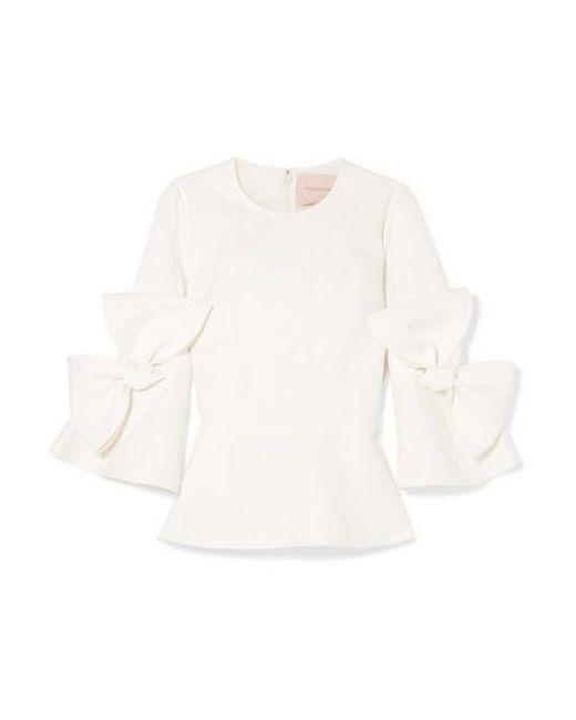 Roksanda White Kemi Bow-embellished Satin-trimmed Crepe Blouse