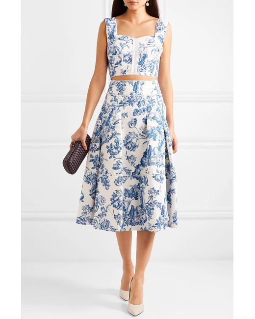 88ea60cba0 ... Oscar de la Renta - Blue Pleated Floral-print Cotton-blend Midi Skirt  ...