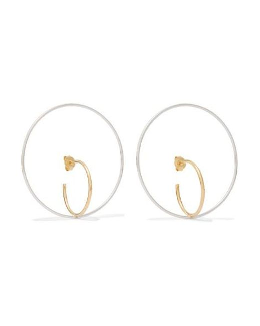 Charlotte Chesnais Metallic Saturn Large Gold Vermeil And Silver Earrings