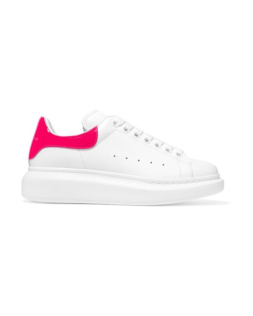 Alexander McQueen - White Neon Leather Exaggerated-sole Sneakers - Lyst