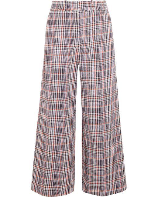 Joseph | Blue Ferrandi Checked Cotton-tweed Wide-leg Pants | Lyst
