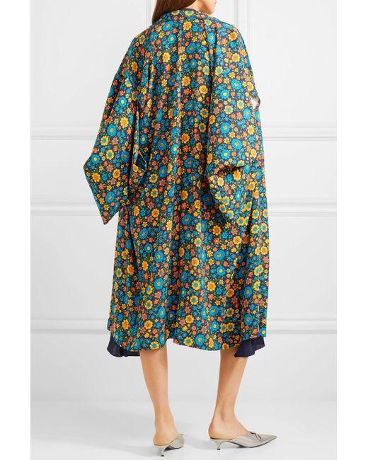 Layered Printed Crepe De Chine And Silk Midi Dress - Navy Balenciaga Czwa3