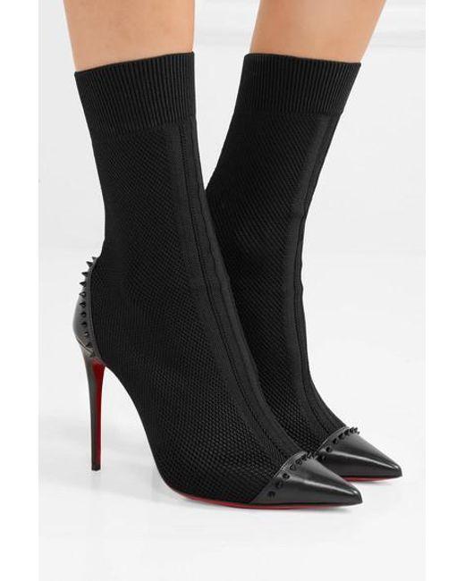 new style 61833 77f42 Women's Black Dovi Dova 100 Studded Leather-trimmed Stretch-knit Sock Boots