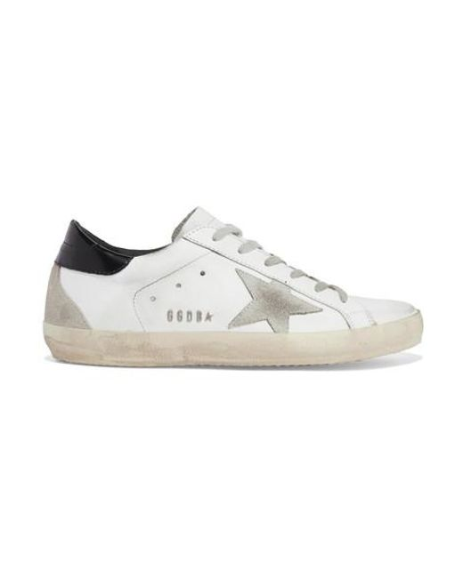 Golden Goose Deluxe Brand White Superstar Distressed Leather And Suede Sneakers