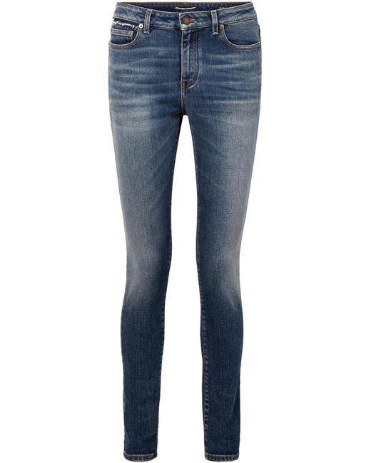 Saint Laurent | Blue Distressed Mid-rise Skinny Jeans | Lyst
