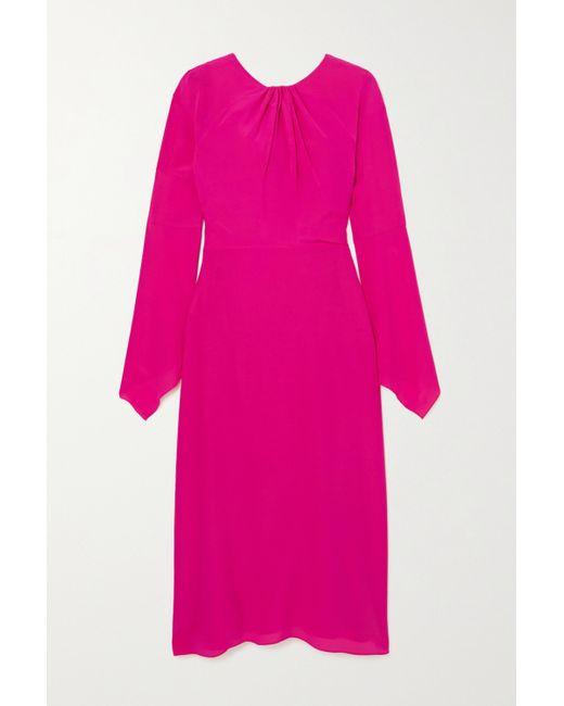Victoria Beckham Pink Twisted Cutout Silk-crepe Midi Dress