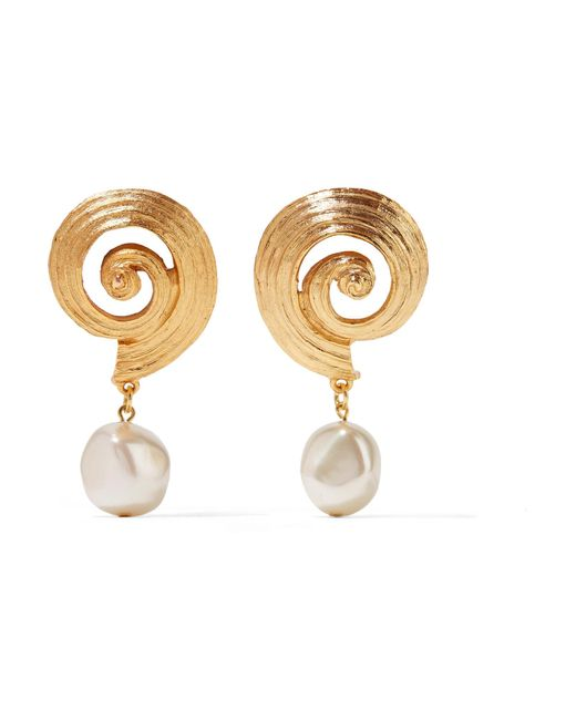 Oscar de la Renta - Metallic Gold-plated Faux Pearl Clip Earrings - Lyst