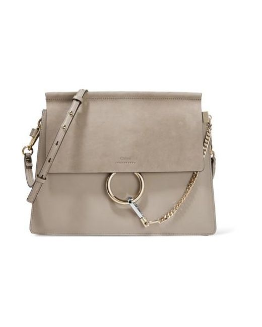 fb04df74ff Women's Gray Faye Medium Leather And Suede Shoulder Bag