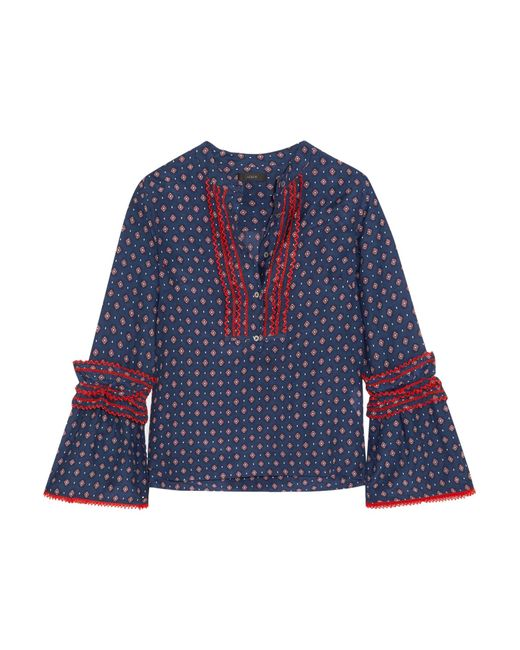 J.Crew - Blue Ludwig Embroidered Printed Cotton And Silk-blend Blouse - Lyst