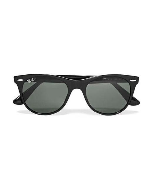 Women S Black Clubround Acetate And Gold Tone Sunglasses