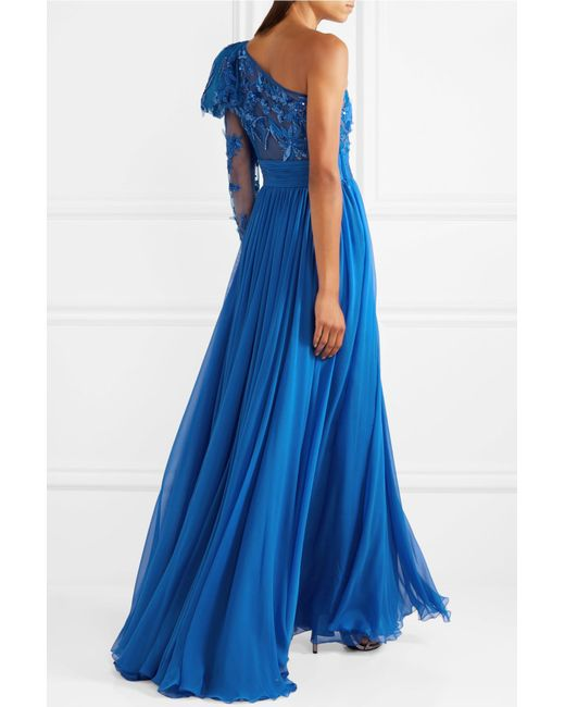 One-shoulder Embellished Tulle And Silk-blend Chiffon Gown - Blue Zuhair Murad Newest For Sale Visit Cheap Price Free Shipping Affordable Discount New Arrival High Quality Cheap Online iUbXnNEnLx