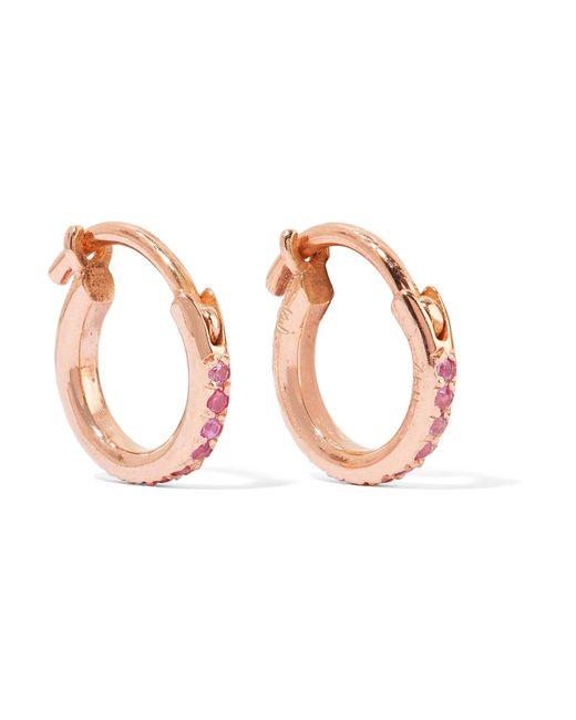 Ileana Makri - Metallic 18-karat Rose Gold Sapphire Hoop Earrings - Lyst