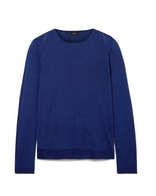 Akris Blue Cashmere And Mulberry Silk-blend Sweater