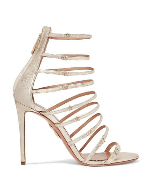 Aquazzura - Claudia Schiffer Star Embellished Metallic Textured-leather Sandals - Lyst