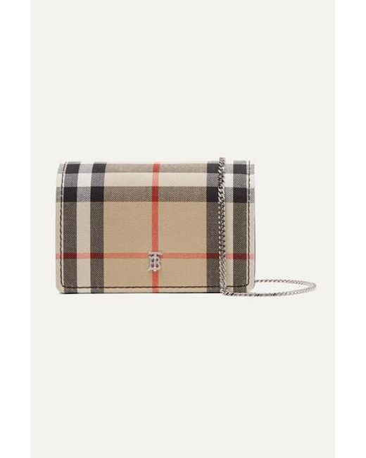 Burberry Brown Checked Canvas And Leather Cardholder
