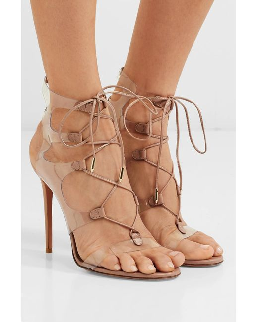 bdde3bff111 ... Aquazzura - Multicolor Milos 105 Leather And Pvc Sandals - Lyst ...