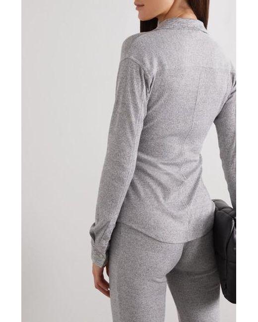 Rag & Bone Gray Geripptes Hemd Aus Meliertem Stretch-strick