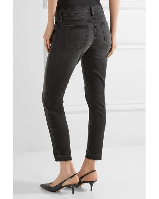 The Seamed Easy Stiletto Mid-rise Stretch-denim Skinny Jeans - Black Current Elliott