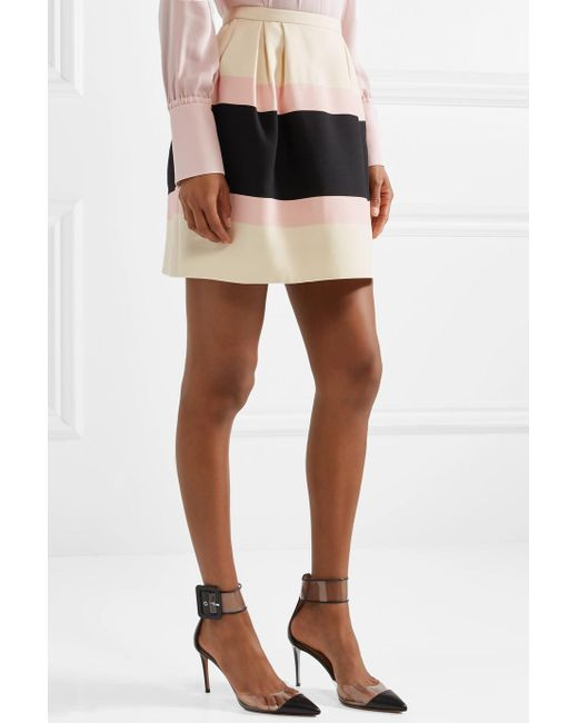 Striped Wool And Silk-blend Crepe Mini Skirt - Cream Valentino Sale View cYsiqgK