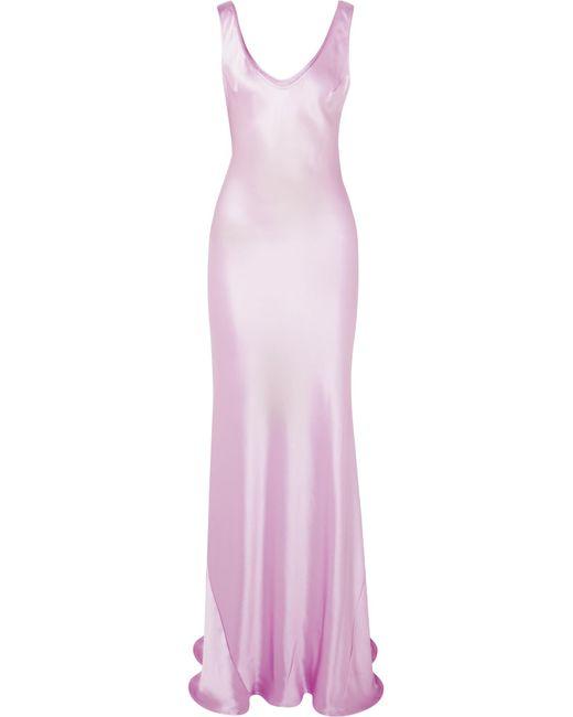 Galvan - Purple Valetta Silk-satin Maxi Dress - Lyst
